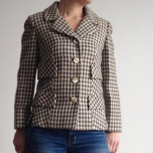 VINTAGE Houndstooth Brown & Beige Cropped Blazer